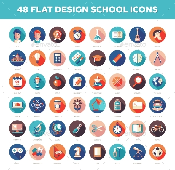 Set Of Modern Flat Design School, College Icons - Miscellaneous Vectors