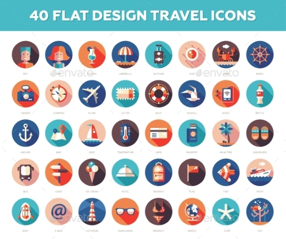 Set Of Flat Design Travel, Vacation Icons - Travel Conceptual