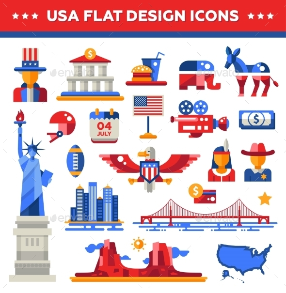 Set Of Flat Design USA Travel Icons, Infographics - Miscellaneous Vectors
