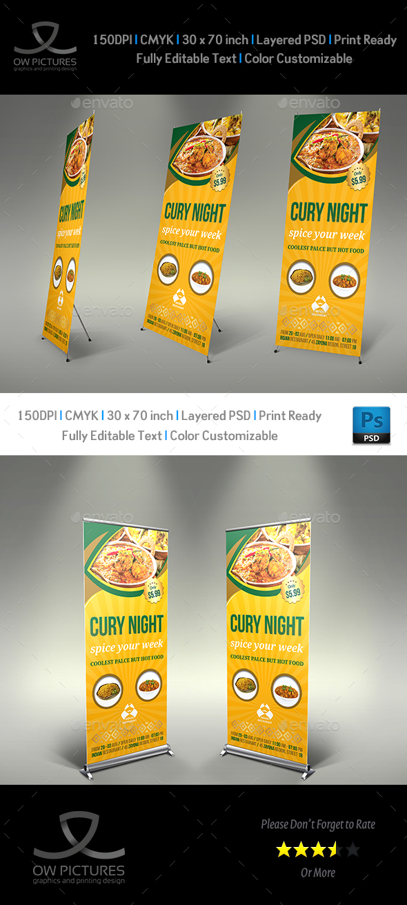 Indian Restaurant Signage Roll up Banner Template - Signage Print Templates