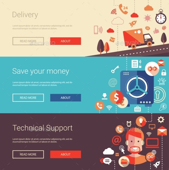 Set Of Modern Flat Design Business Banners - Backgrounds Business