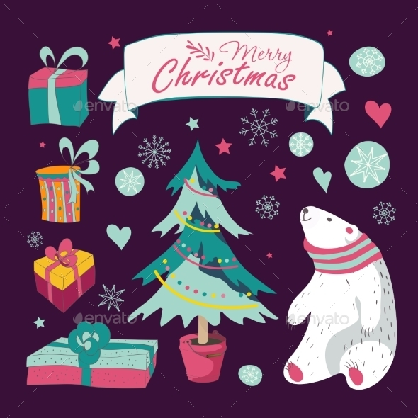 Set Of Christmas And New Year's Graphic Elements - Christmas Seasons/Holidays