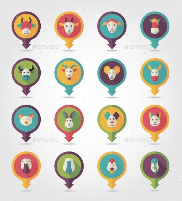 Farm Animals Mapping Pins Icons - Animals Characters