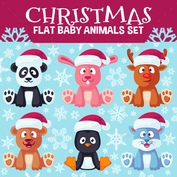 Christmas Cute Flat Animals Set - Animals Characters