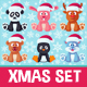 Christmas Cute Flat Animals Set - GraphicRiver Item for Sale