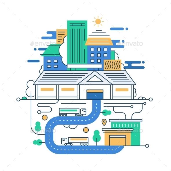 City Lifestyle Line Design Illustration - Buildings Objects