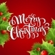 Merry Christmas Lettering Card With Holly. Vector - GraphicRiver Item for Sale