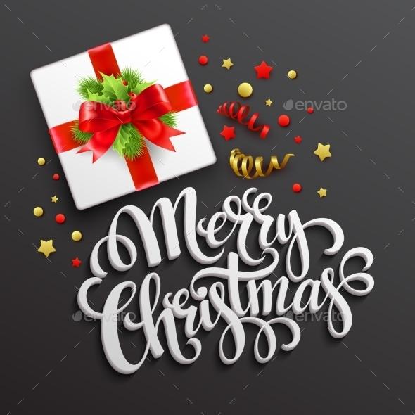 Merry Christmas Greeting Card. Gift Box.  Vector - Christmas Seasons/Holidays