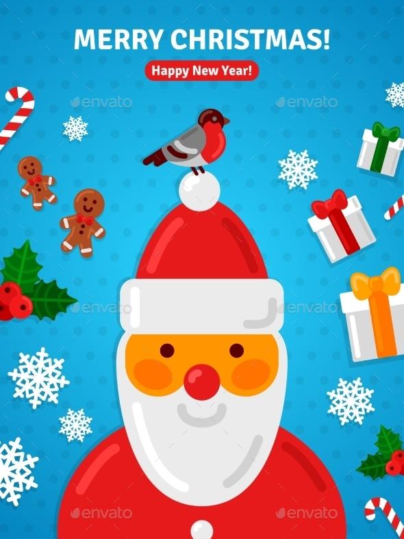 Christmas Greeting Card Poster Concept With Santa - Christmas Seasons/Holidays