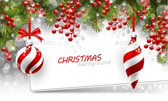 Christmas Background With Fir Branches And Red - Christmas Seasons/Holidays