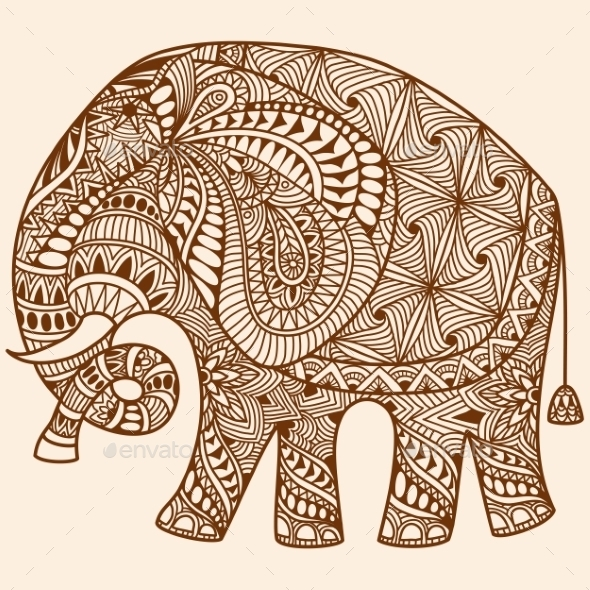 Vector Henna Mehndi Decorated Indian Elephant - Patterns Decorative