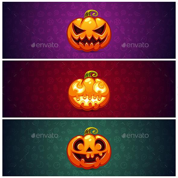 Horizontal Halloween Banners Background - Halloween Seasons/Holidays