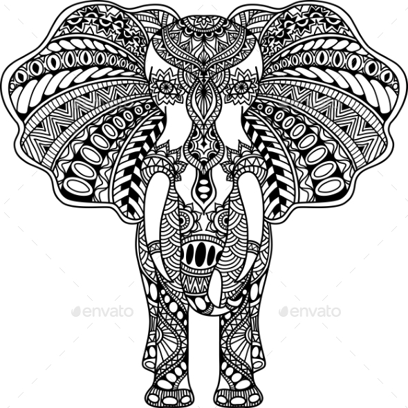 Mehndi Patterns Vector : Vector henna mehndi decorated indian elephant by