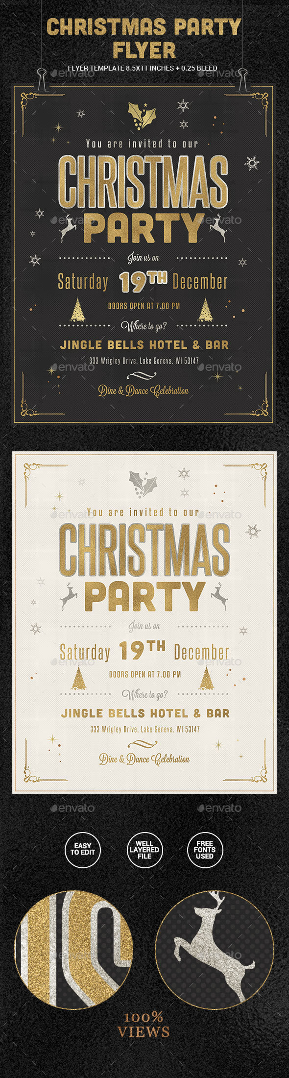 Golden Christmas Party Flyer - Holidays Events