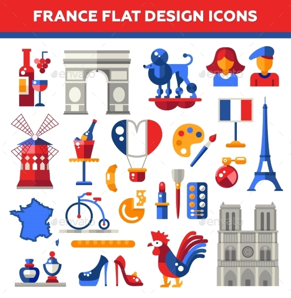 Set Of Flat Design France Travel Icons - Travel Conceptual