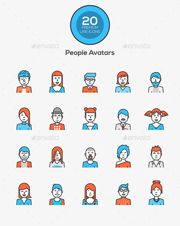 Set of Flat Line Design People Icon - Icons