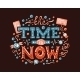 The Time Is Now Lettering Illustration - GraphicRiver Item for Sale