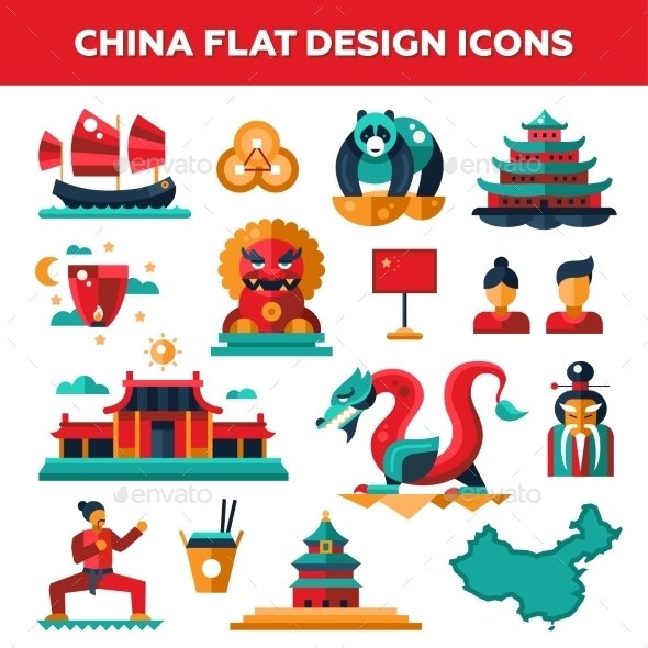Set Of Flat Design China Travel Icons - Travel Conceptual