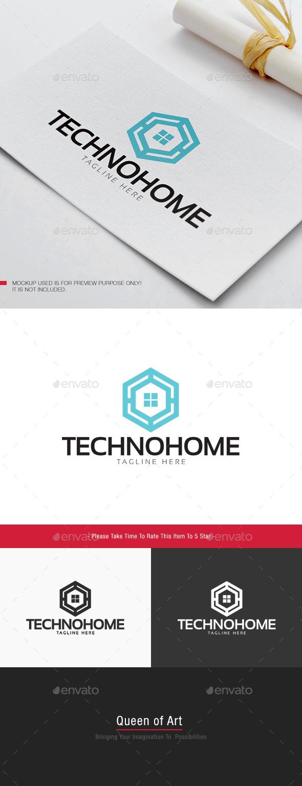 Techno Home Logo - Buildings Logo Templates