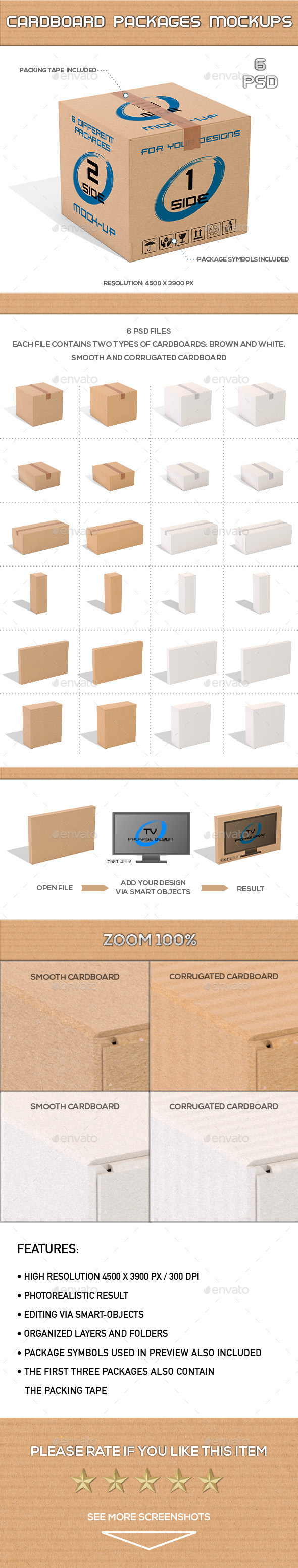 Cardboard Packages Mock-Up - Product Mock-Ups Graphics
