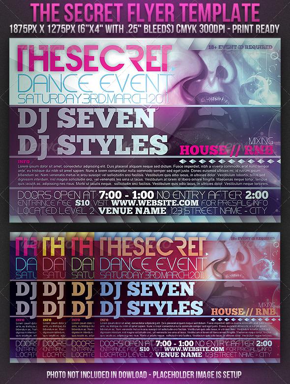 Secret Flyer Template - Clubs & Parties Events