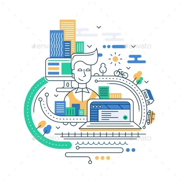 City Lifestyle Line Flat Design Illustration - Miscellaneous Vectors