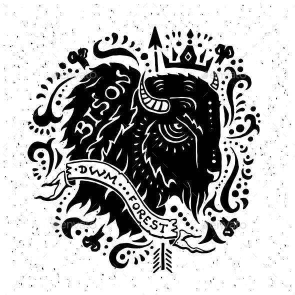 Illustration Of Vintage Grunge Label With Bison - Backgrounds Decorative