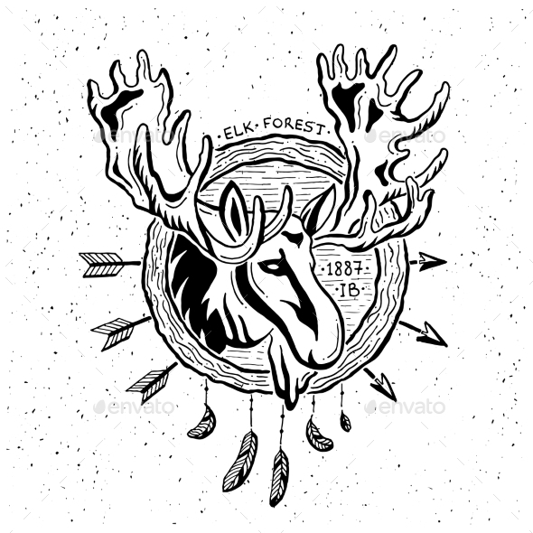 Illustration Of Vintage Grunge Label With Moose - Backgrounds Decorative