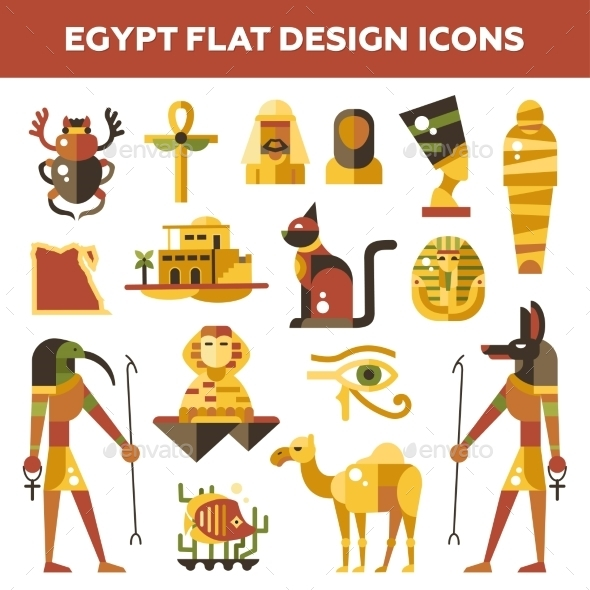 Set Of Flat Design Egypt Travel Icons - Travel Conceptual
