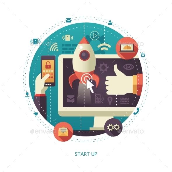 Flat Design Start Up Business Illustration - Web Technology