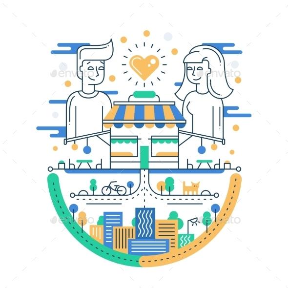 Love In The City Line Design Illustration - Miscellaneous Vectors