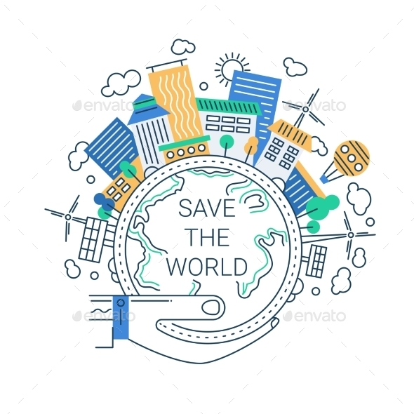 Save the World Line Design Illustration - Miscellaneous Conceptual