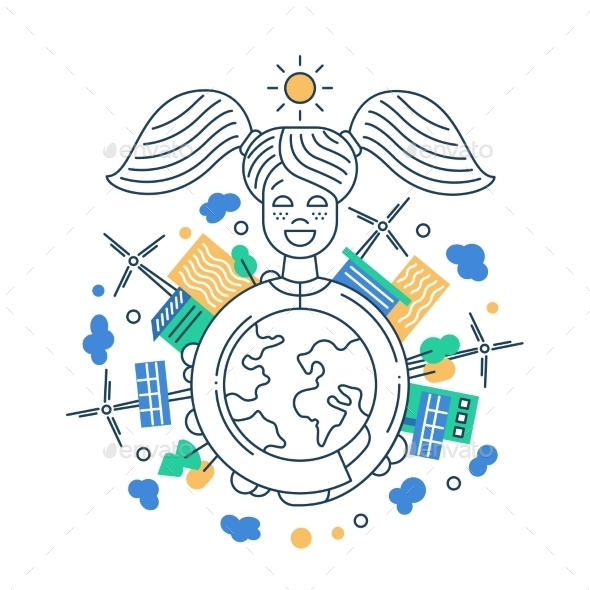 Protect the Earth - Line Design Illustration - Miscellaneous Conceptual