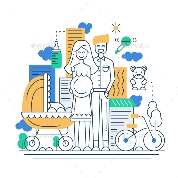 Line Design Happy Young Family Illustration - People Characters