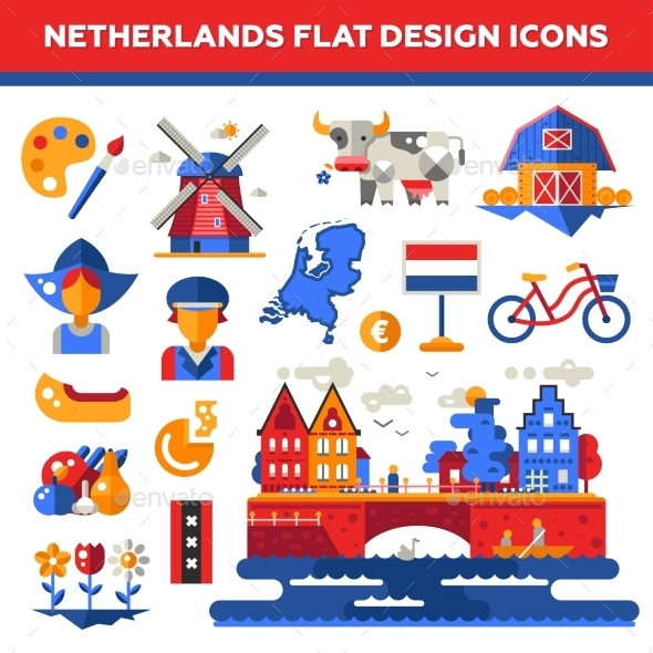 Set Of Flat Design Holland Travel Icons - Travel Conceptual
