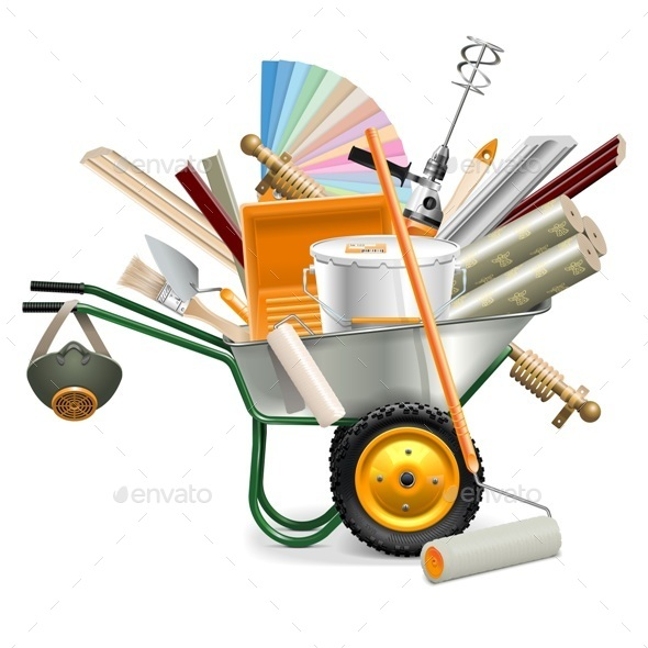 Vector Wheelbarrow with Painting Tools - Industries Business