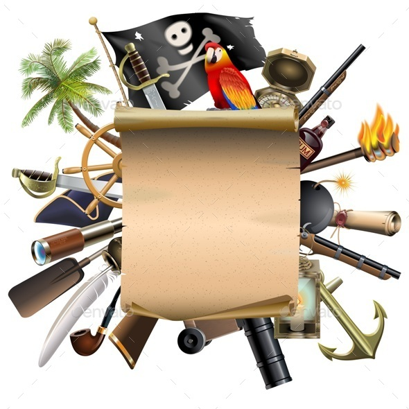 Old Scroll with Pirate Accessories - Travel Conceptual