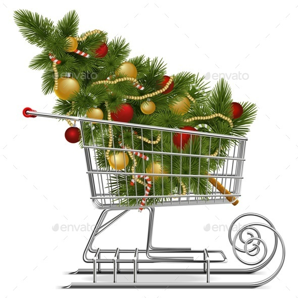 Shopping Sled with Christmas Tree - Christmas Seasons/Holidays