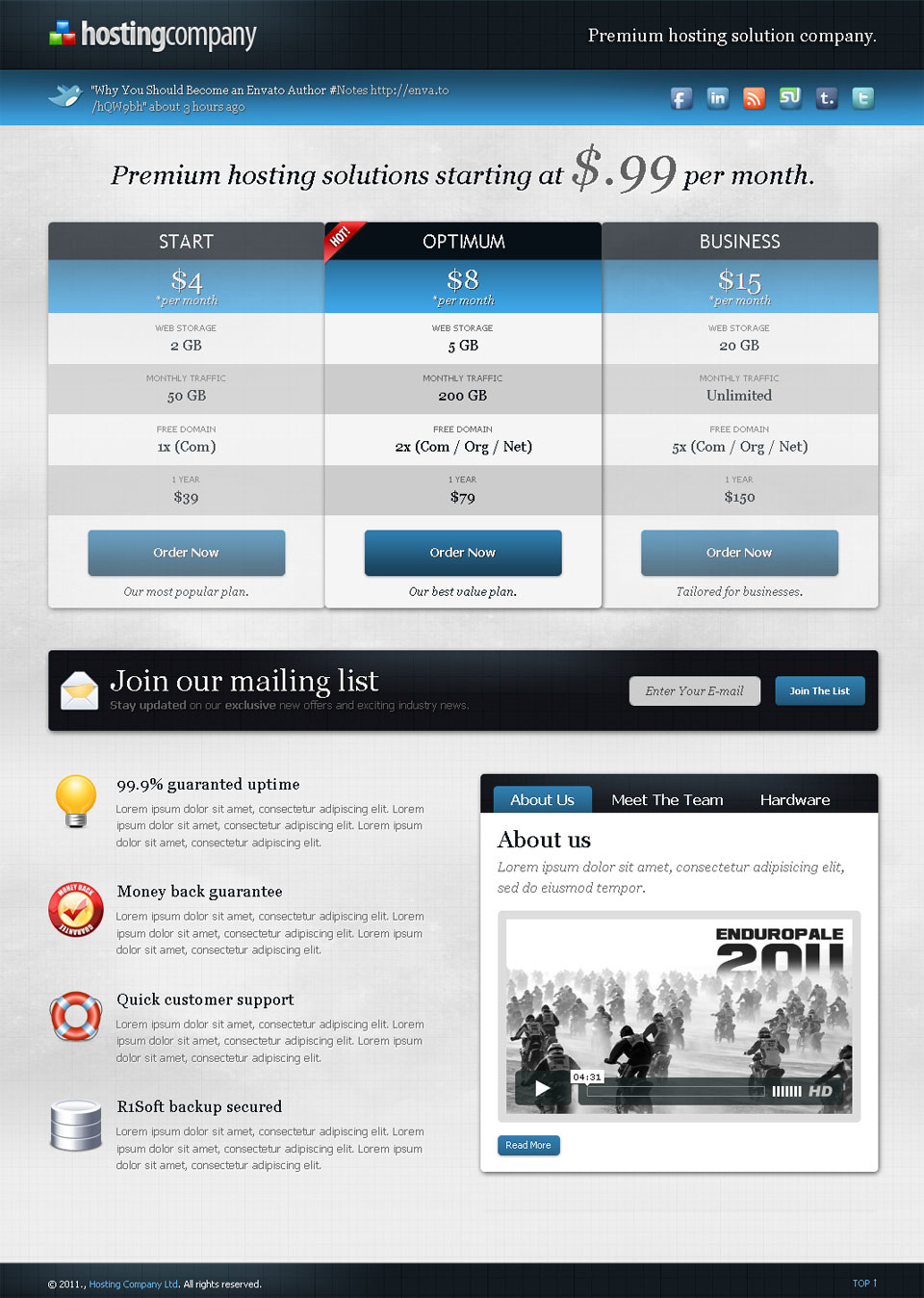 Hosting Company Landing Page By Webfactory Themeforest