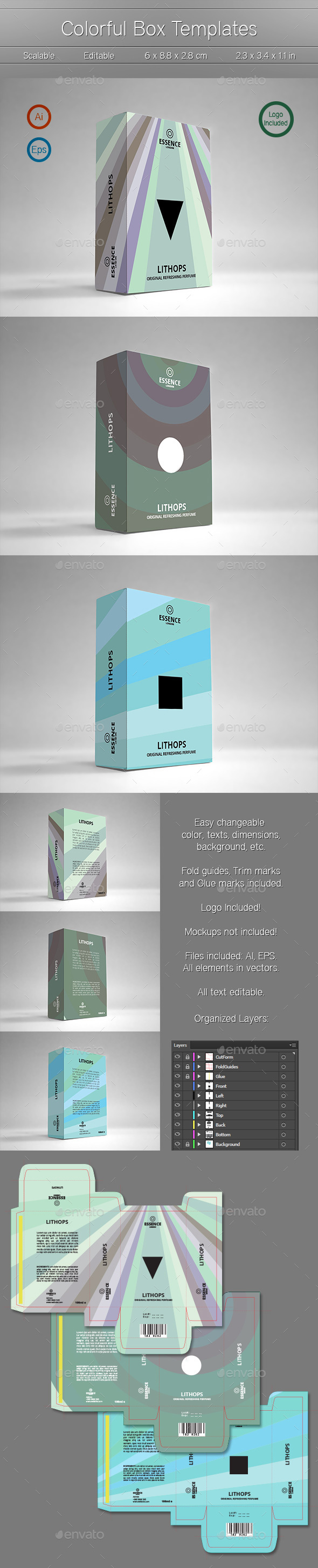 3 Colorful Box Templates - Packaging Print Templates