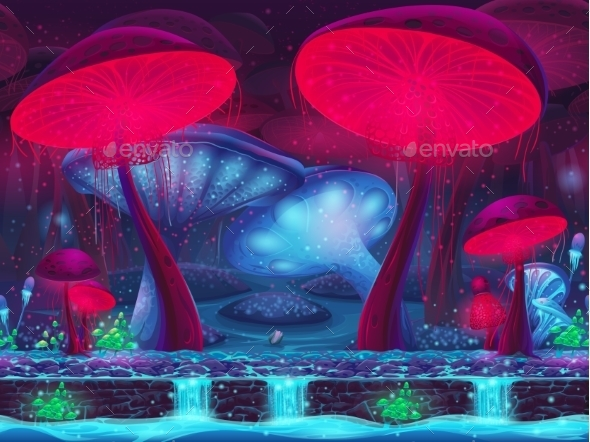 Magic Mushroom Hollow - Mystical Background - Backgrounds Decorative