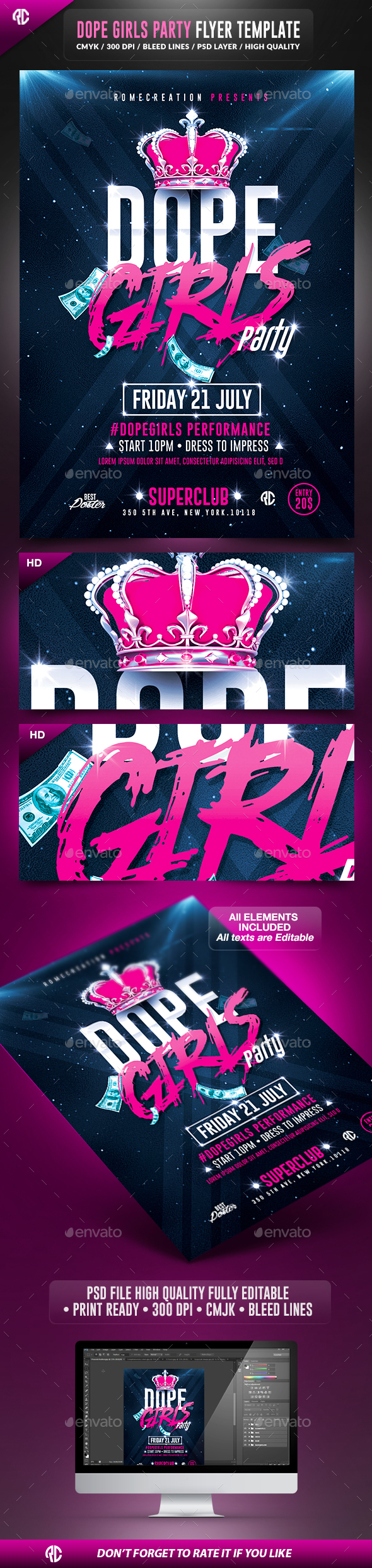 Dope Girls Pink Party | Psd Flyer Template - Clubs & Parties Events