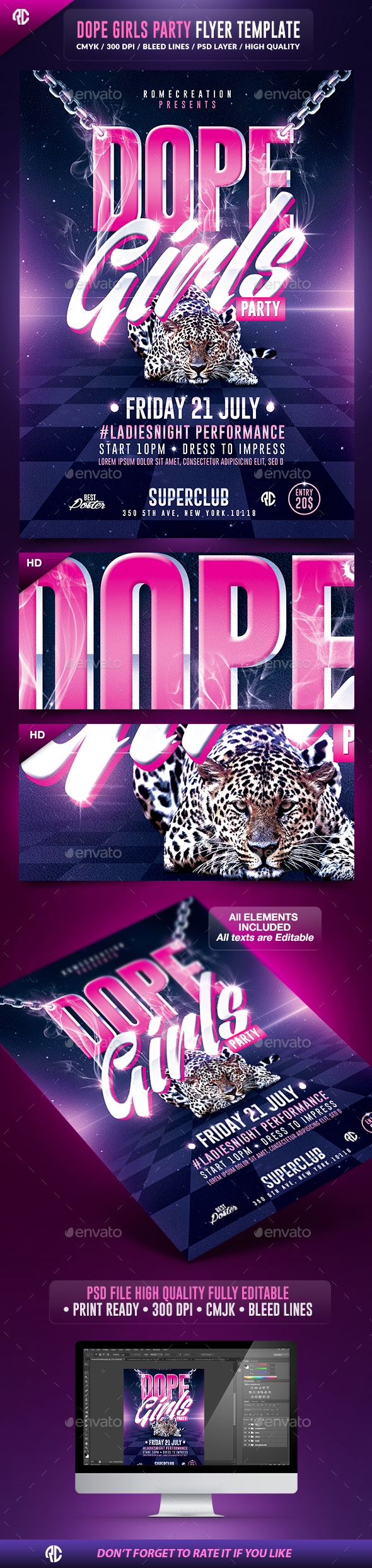 Dope Girls Savage Party | Psd Flyer Template - Flyers Print Templates