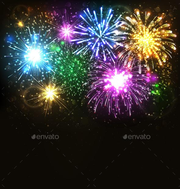 Multicolor Festive Firework Salute Burst on Black - Miscellaneous Seasons/Holidays