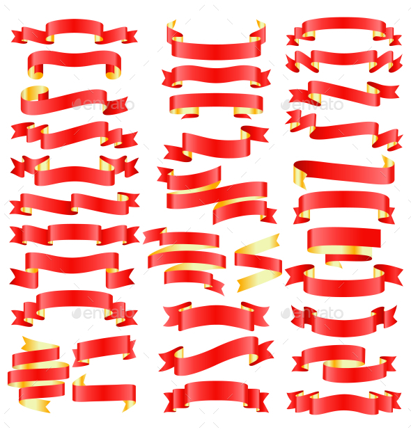 Set of Red Golden Celebration Curved Ribbons - Miscellaneous Vectors