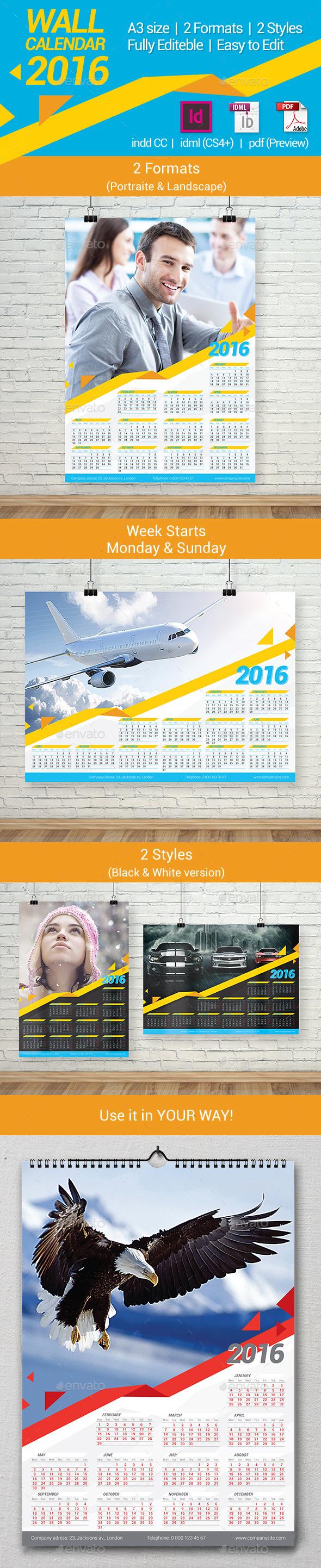 2016 Poster Calendar Template - Calendars Stationery