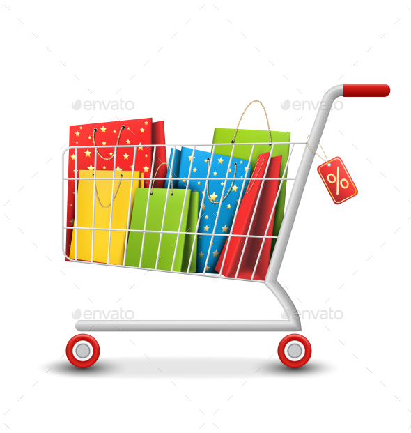 Sale Colorful Shopping Cart with Bags on White - Retail Commercial / Shopping