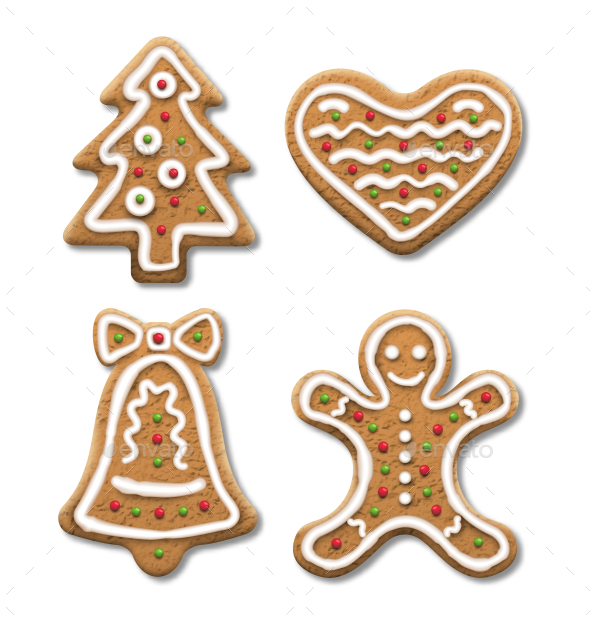 Set of Gingerbread Christmas Cookies on White - Food Objects
