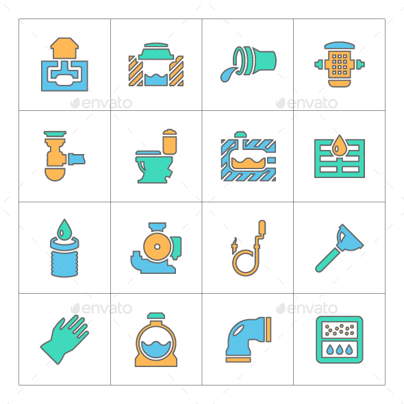 Set Line Icons of Sewerage - Man-made objects Objects