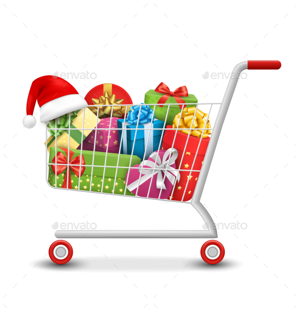 Sale Shopping Cart with Gift Boxes and Bags - Christmas Seasons/Holidays